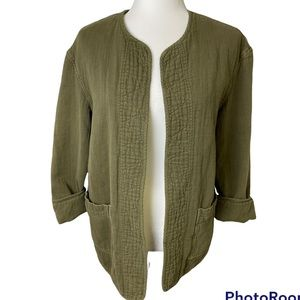Wilfred Free Army Green Open Front Jacket Sz S